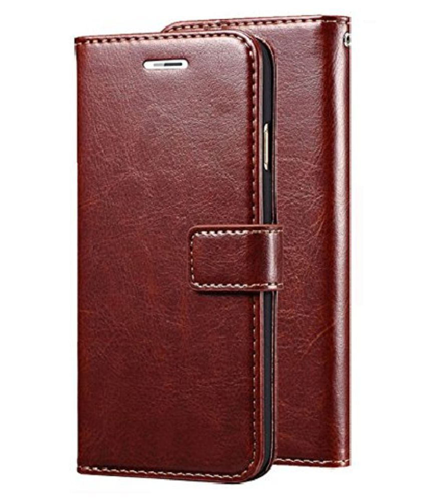 Samsung galaxy J7 Prime Flip Cover by KOVADO - Brown Original Vintage Look Leather Wallet Case