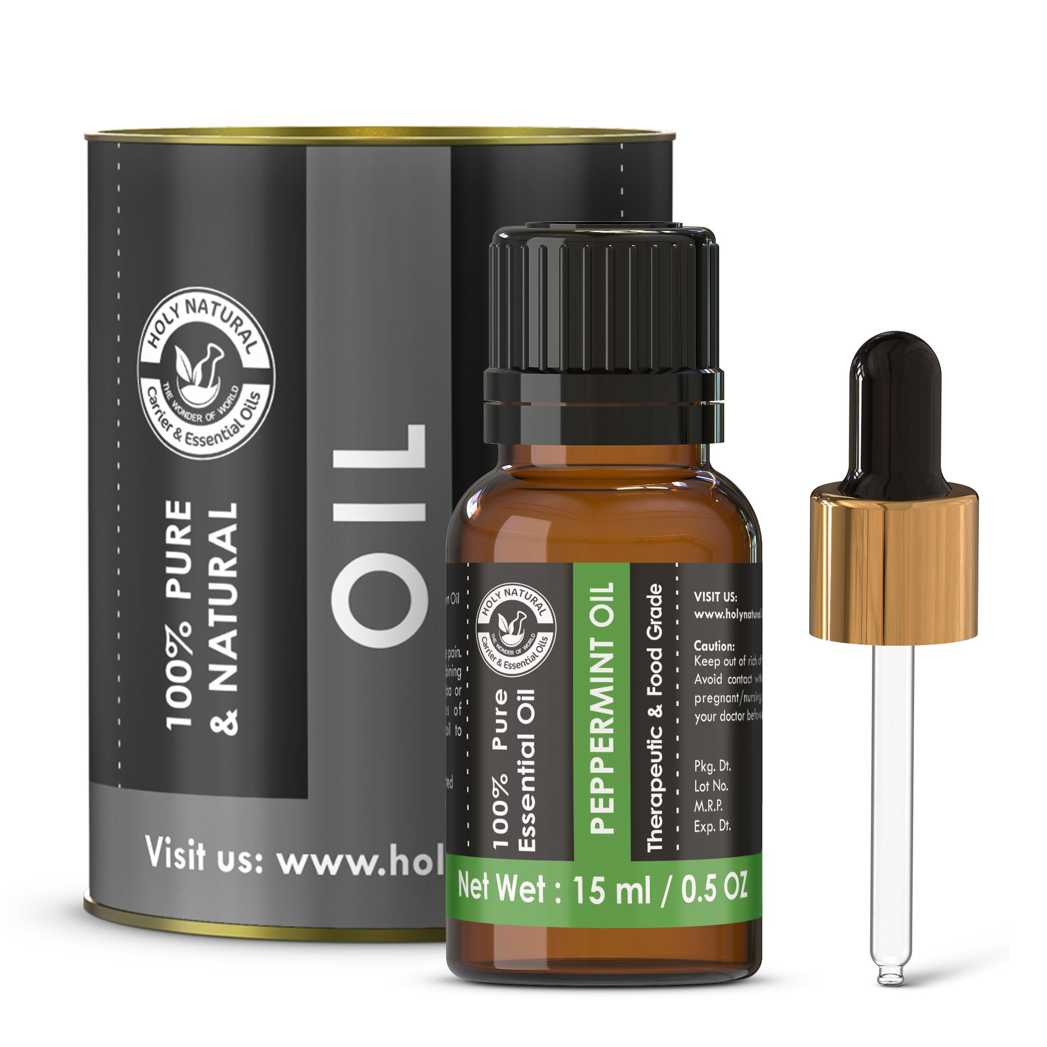 Holy Natural Peppermint Essential Oil 15 mL