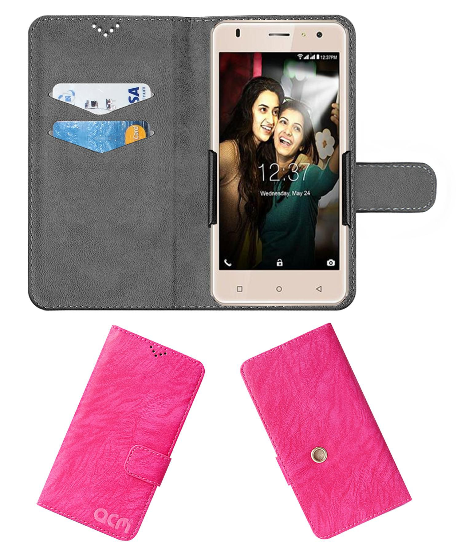 Intex Aqua S3 Flip Cover by ACM - Pink Clip holder to hold your mobile securely
