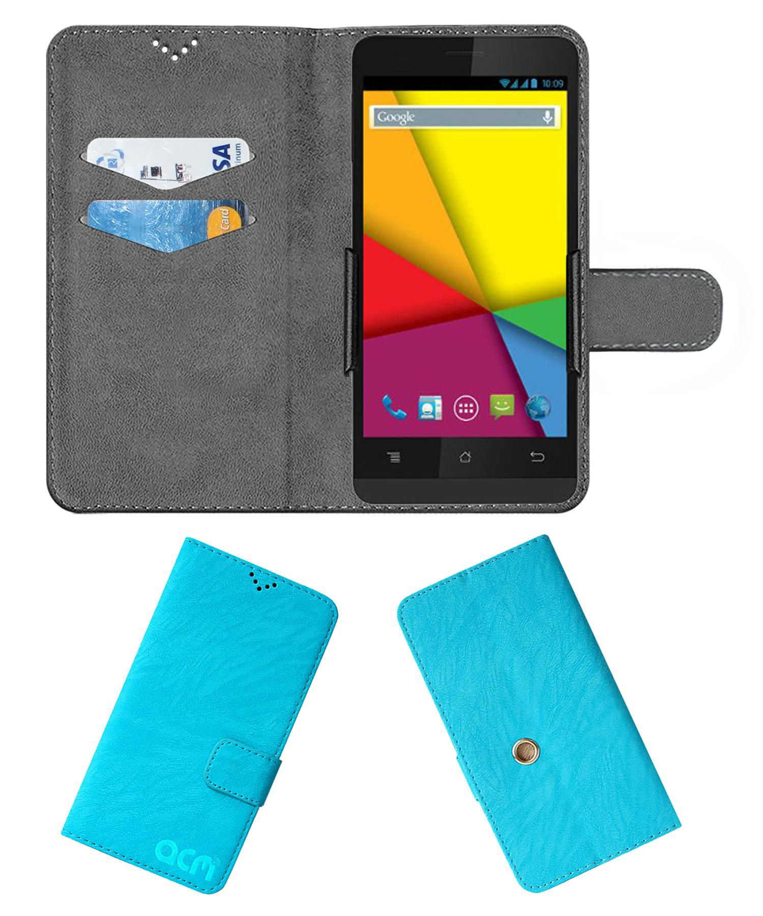 Karbonn Titanium S5 Ultra Flip Cover by ACM - Blue Clip holder to hold your mobile securely