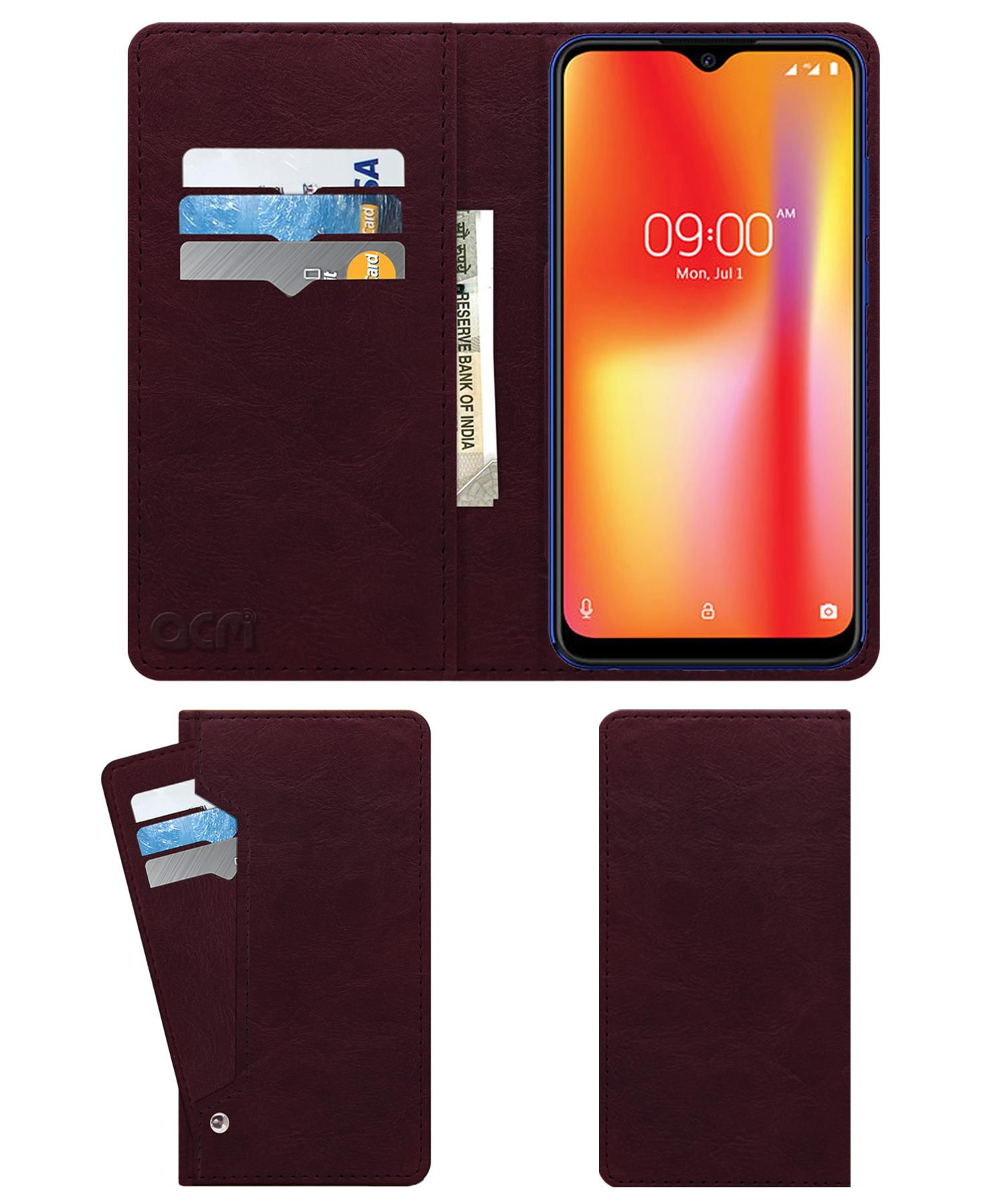 Lava Z93 Flip Cover by ACM - Red Wallet Case,Can store 6 Card & Cash,Burgundy Red