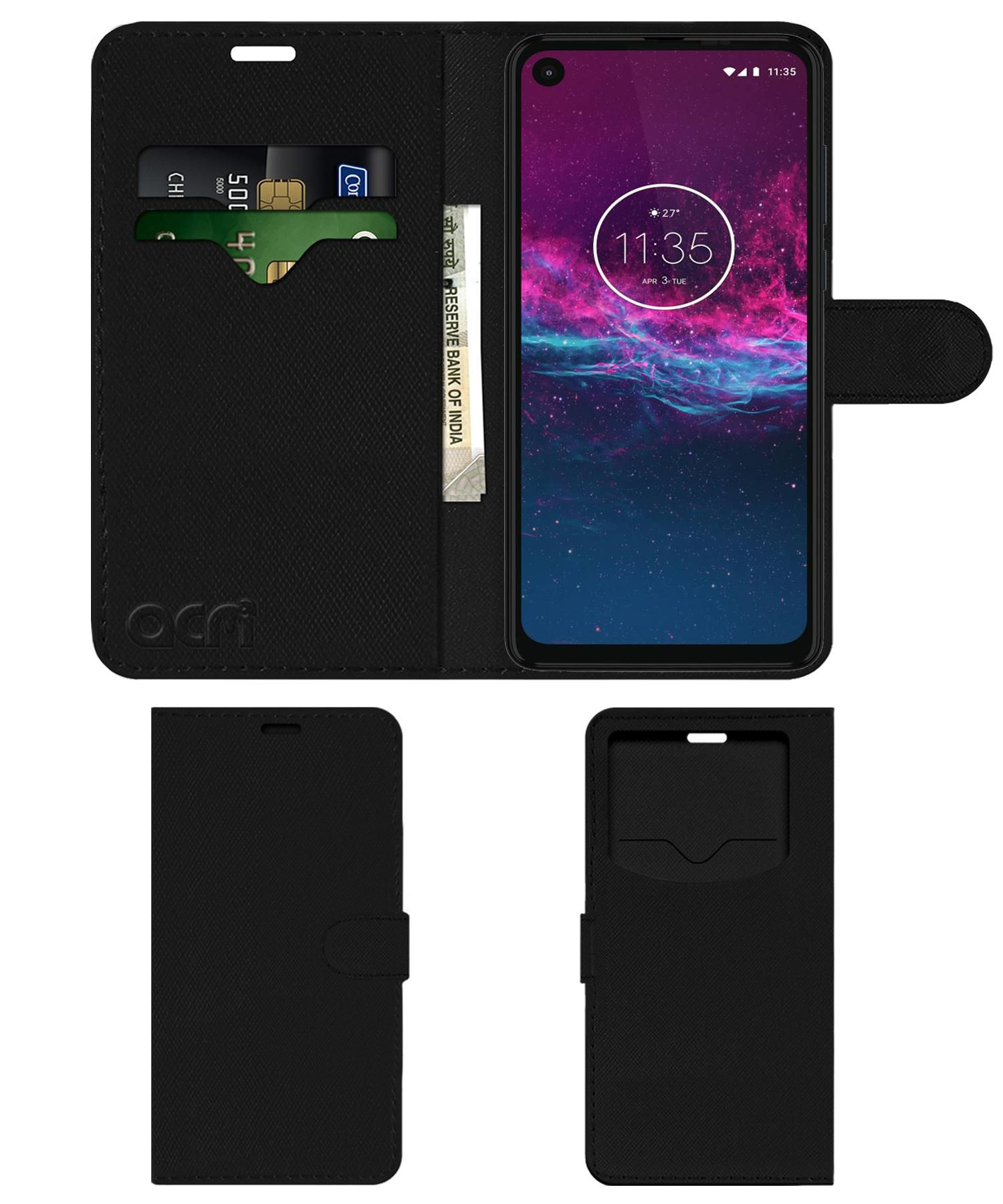 Motorola One Action Flip Cover by ACM - Black Wallet Case,Can store 2 Card & 1 Cash Pockets