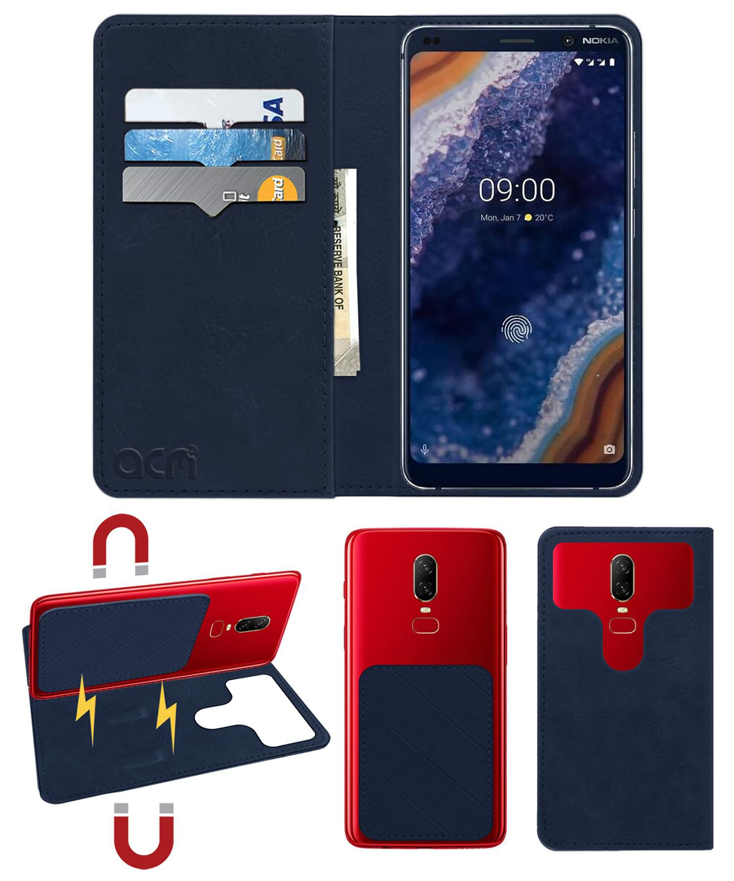 Nokia 9 Flip Cover by ACM - Blue 2 in 1 Detachable Case,Attachable Flip With Magnet
