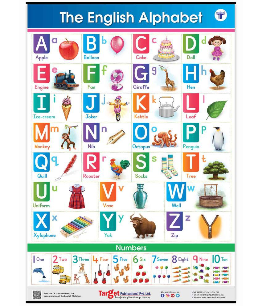 Jumbo English Alphabet and Numbers Chart for Kids | Perfect For Homeschooling, Kindergarten and Nursery Children | (39.25 x 27.25 Inch)