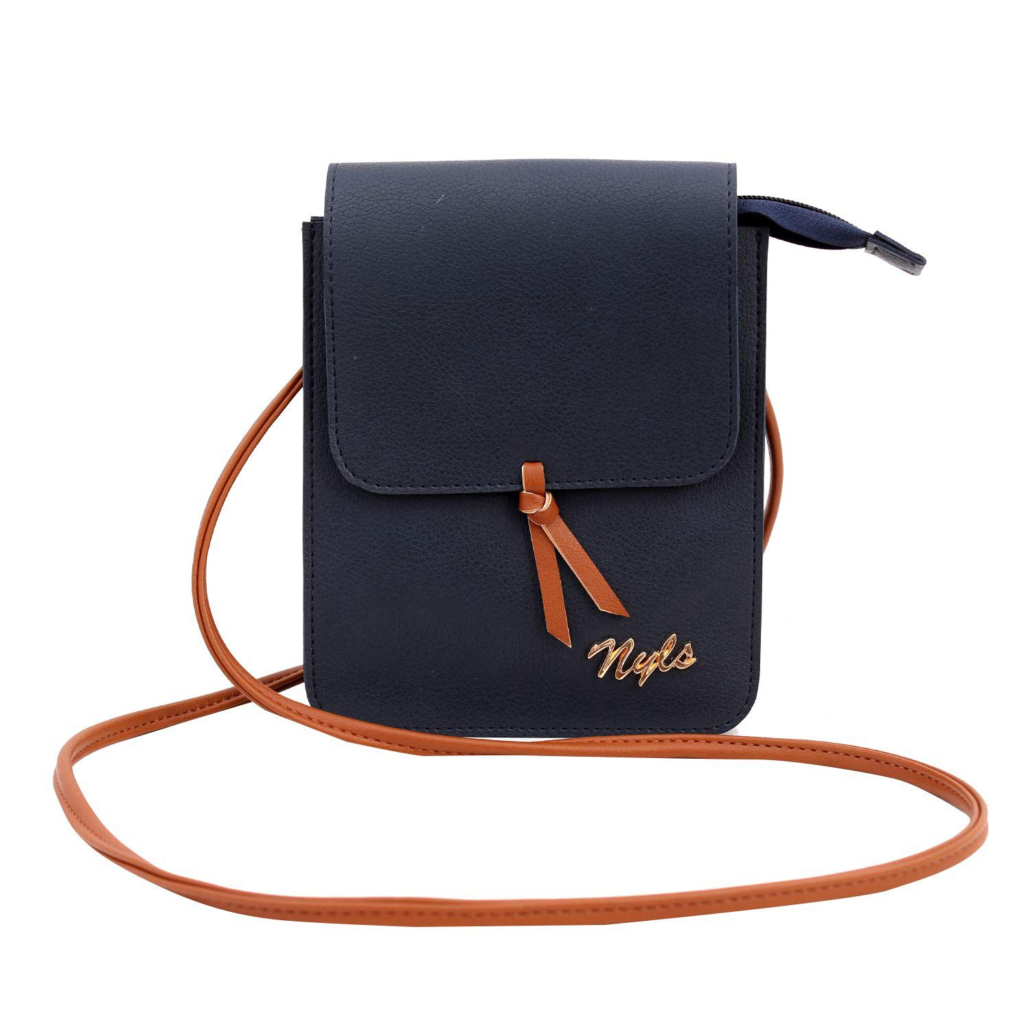 NYLS Blue Synthetic Casual Messenger Bag