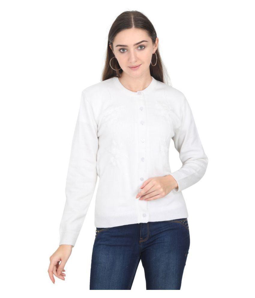Urban Studio Woollen White Non Hooded Sweatshirt