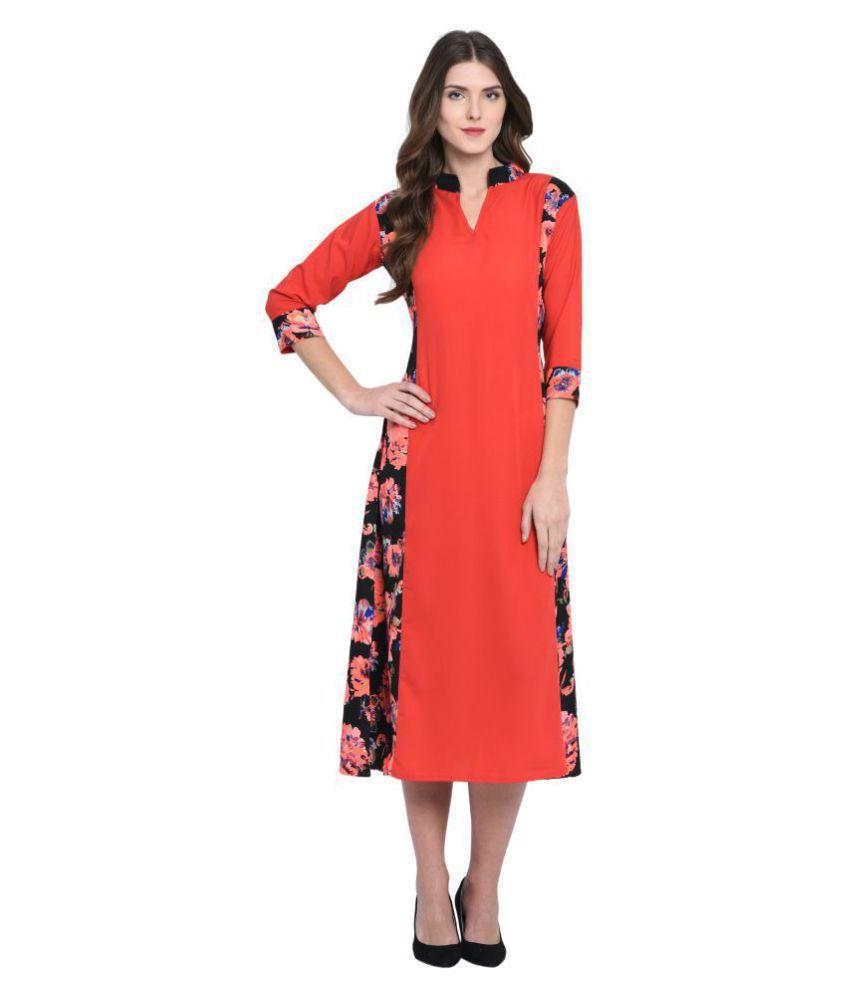 Triraj Poly Crepe Red A- line Dress