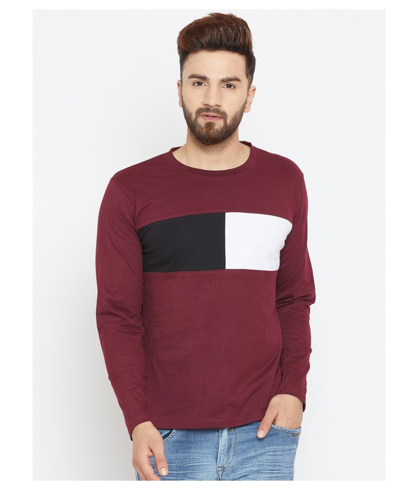 Bombay Clothing Company Cotton Blend Maroon Color Block T-Shirt