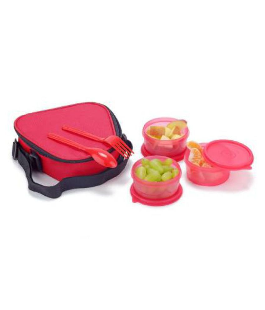 SKYHEART Red Polypropylene (PP) Lunch Box