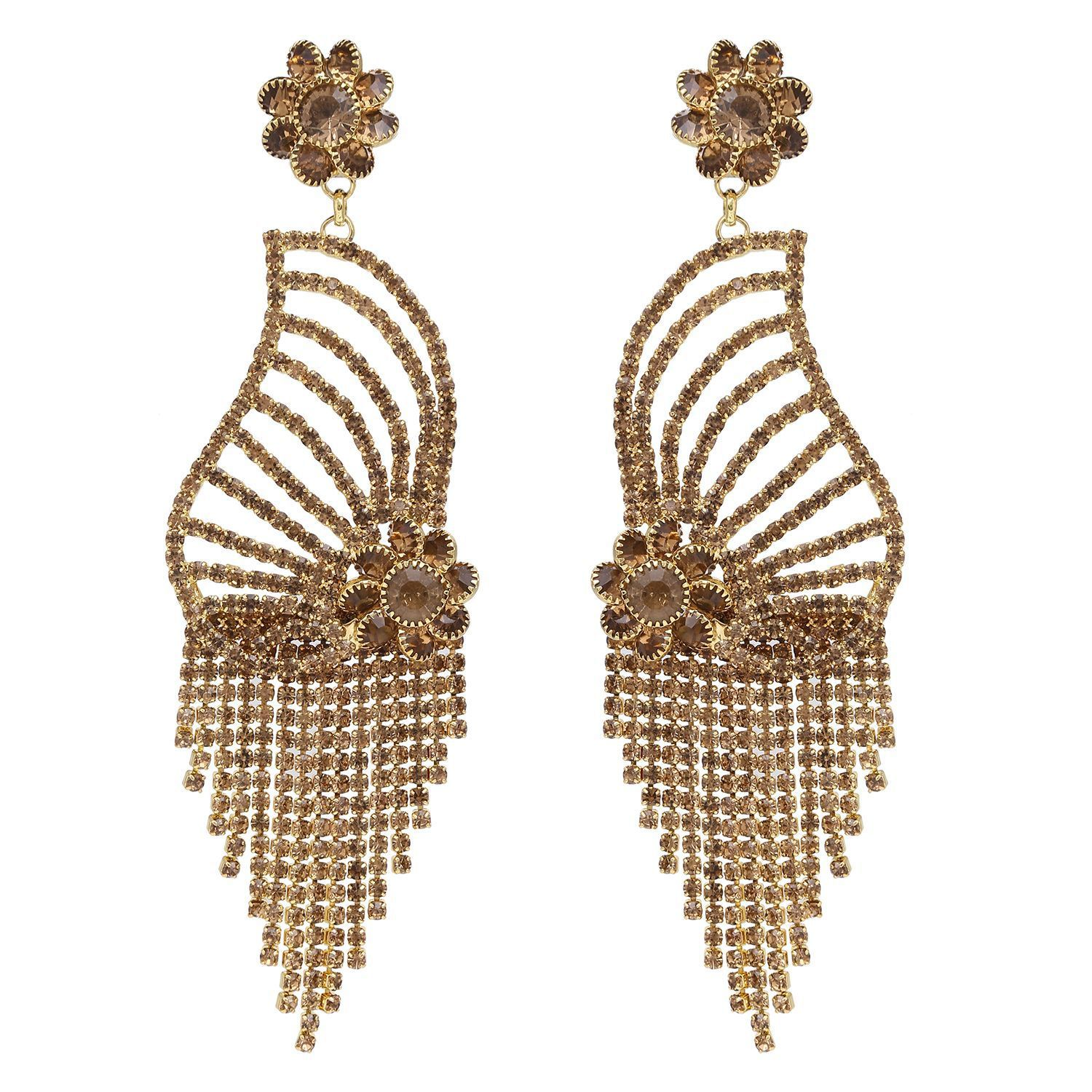 Archi Collection Fashion Jewellery Stylish Gold Plated CZ Tassel Wedding Party Wear Dangle Chandelier Earring Set