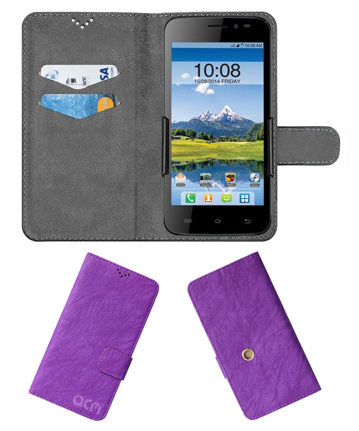 Intex Aqua Q1 Flip Cover by ACM - Purple Clip holder to hold your mobile securely