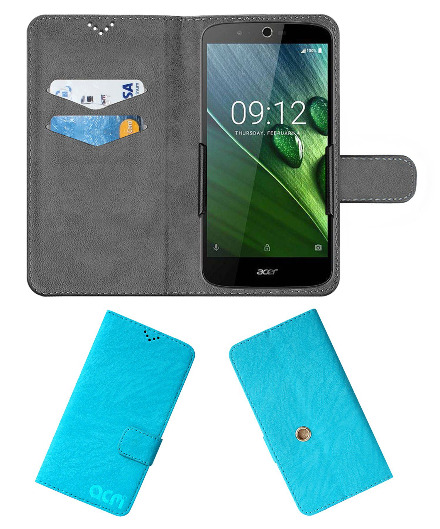 Acer Liquid Zest Plus Flip Cover by ACM - Blue Clip holder to hold your mobile securely