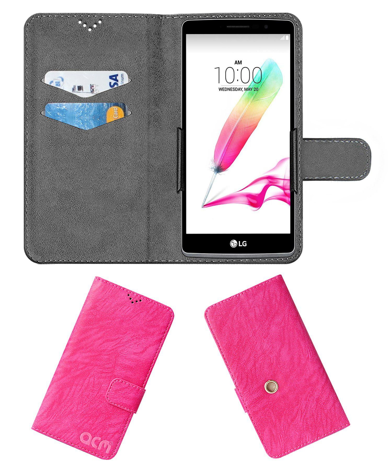 Lg H540d Flip Cover by ACM - Pink Clip holder to hold your mobile securely