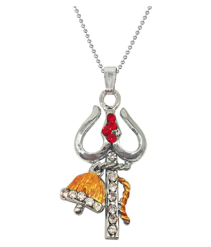 Men Style  Lord Shiva Trishula Damaru Locket With Chain Rhodium Cubic Zirconia Zinc, Metal Pendant Set
