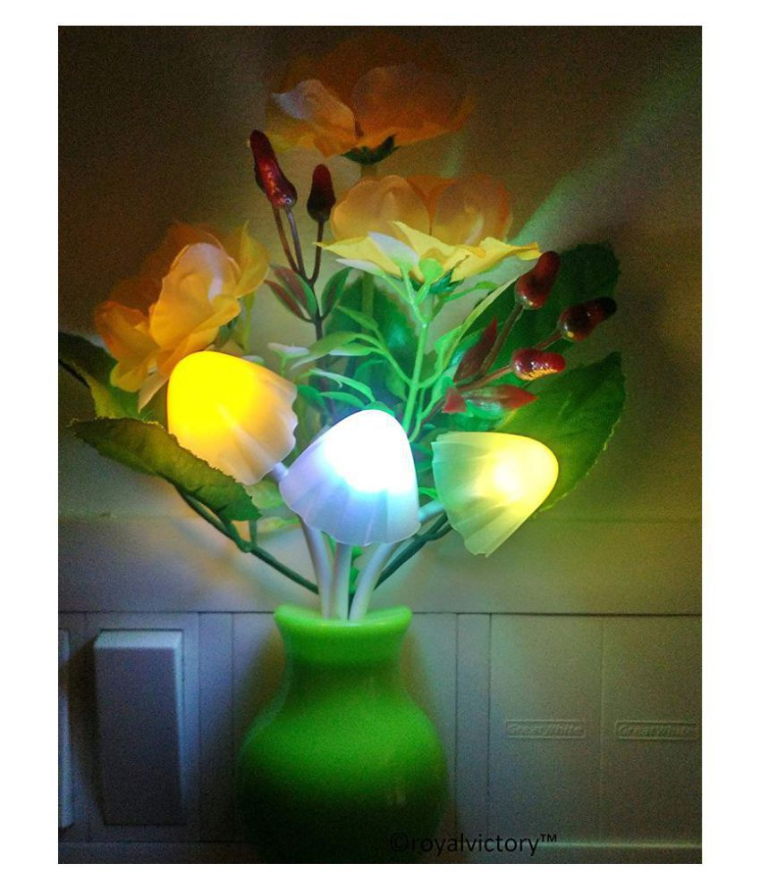 Nai Dsign Plastic Romantic Mushroom LED Night Lamp with Green Pot With Flower As stock Available Night Lamp Multi - Pack of 1