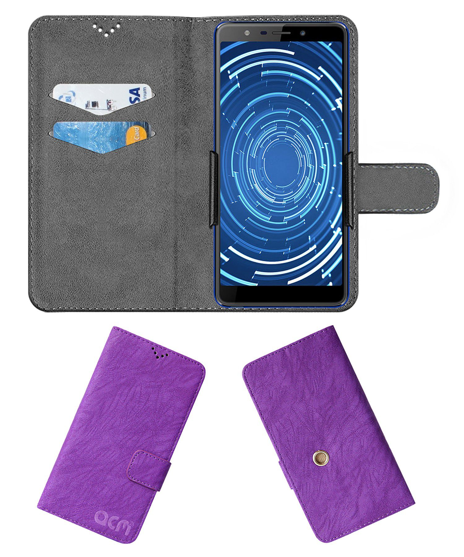Panasonic Eluga Ray 530 Flip Cover by ACM - Purple Clip holder to hold your mobile securely
