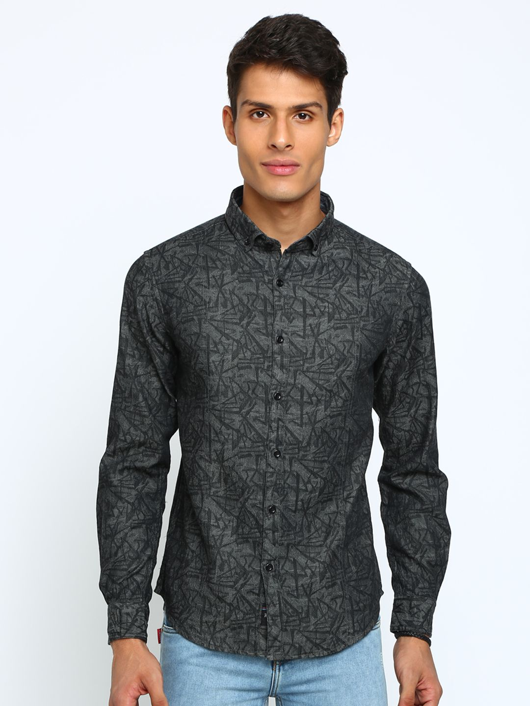 TED HARBOR Cotton Blend Grey Prints Shirt