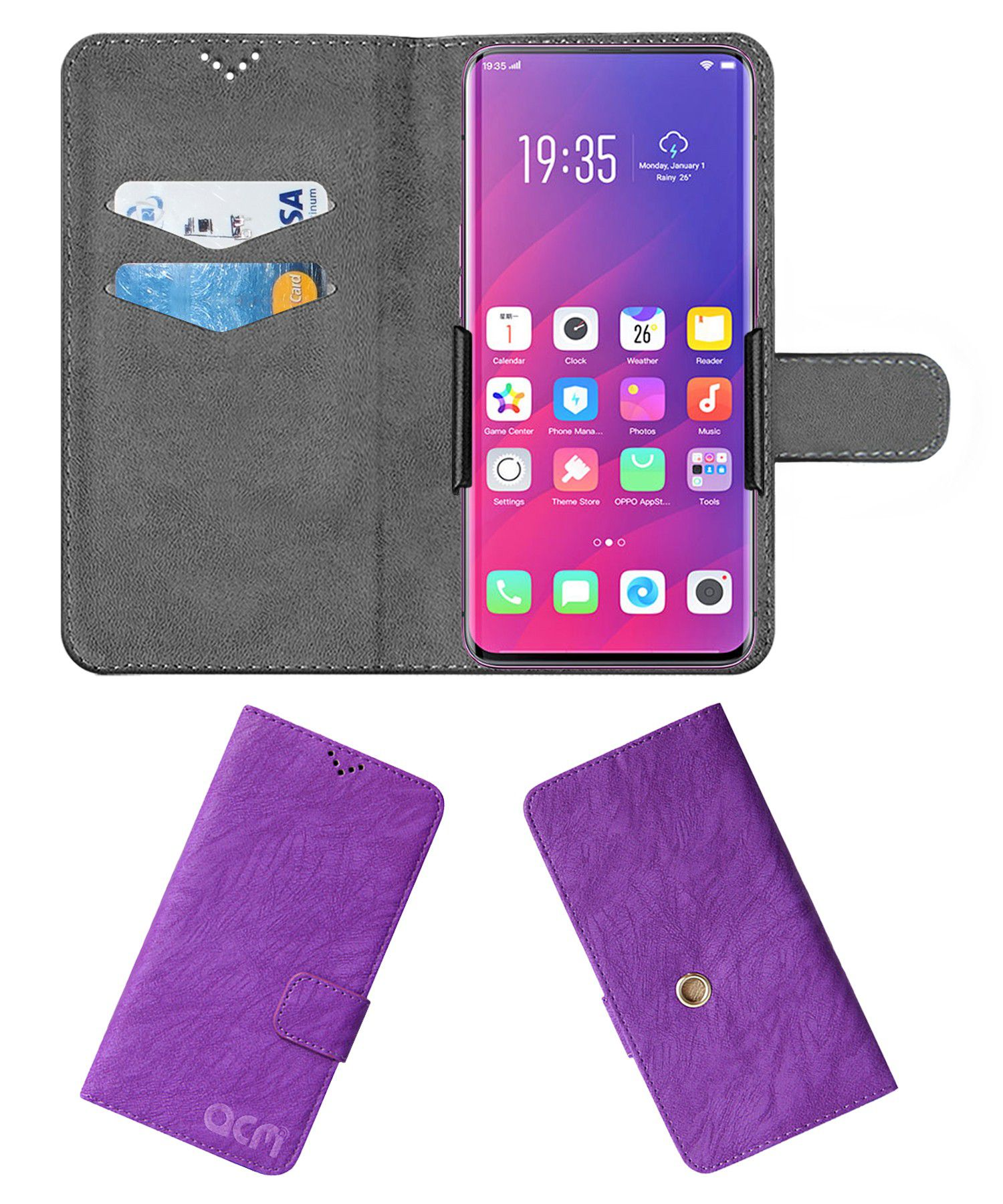 Find X Flip Cover by ACM - Purple Clip holder to hold your mobile securely