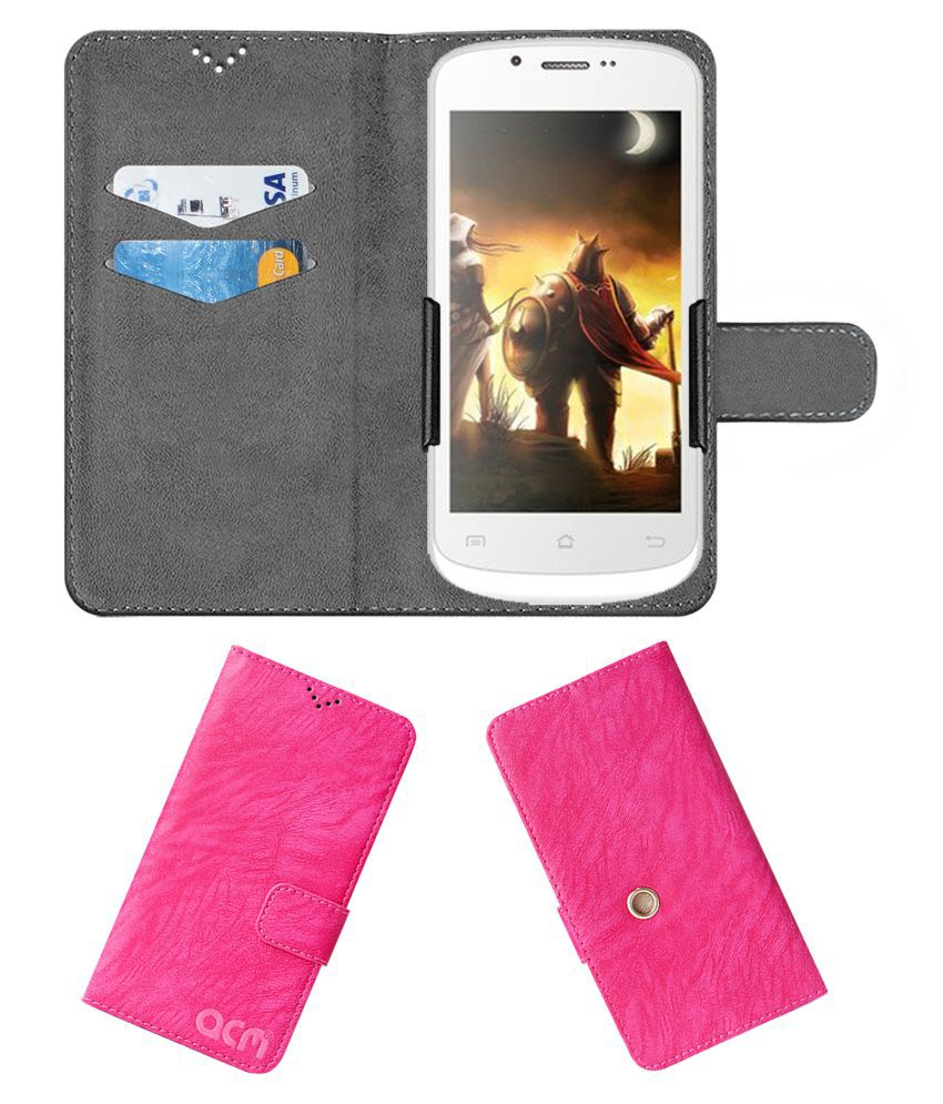 Celkon A 225 Flip Cover by ACM - Pink Clip holder to hold your mobile securely