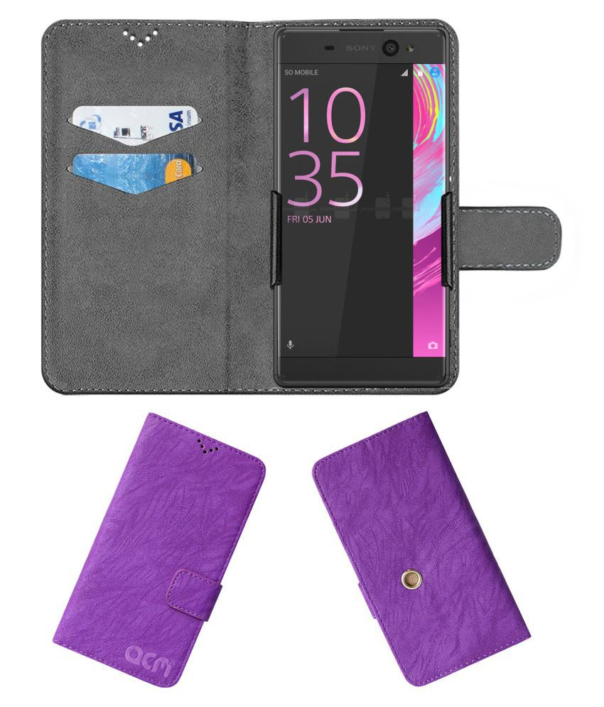 Sony Xperia XA Ultra Flip Cover by ACM - Purple Clip holder to hold your mobile securely