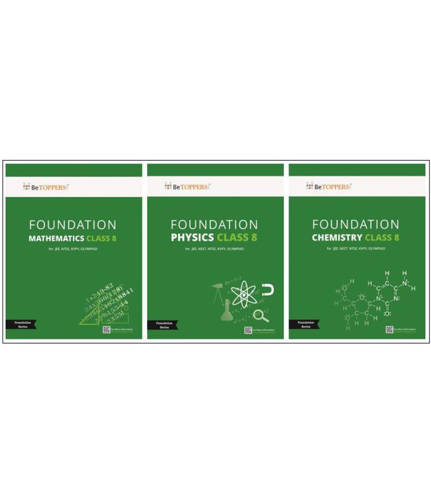 IIT / NTSE /KVPY / Olympiad Foundation Series  Class 8 (3 books inside!) Mathematics,Physics and Chemistry with Key & Solutions CD