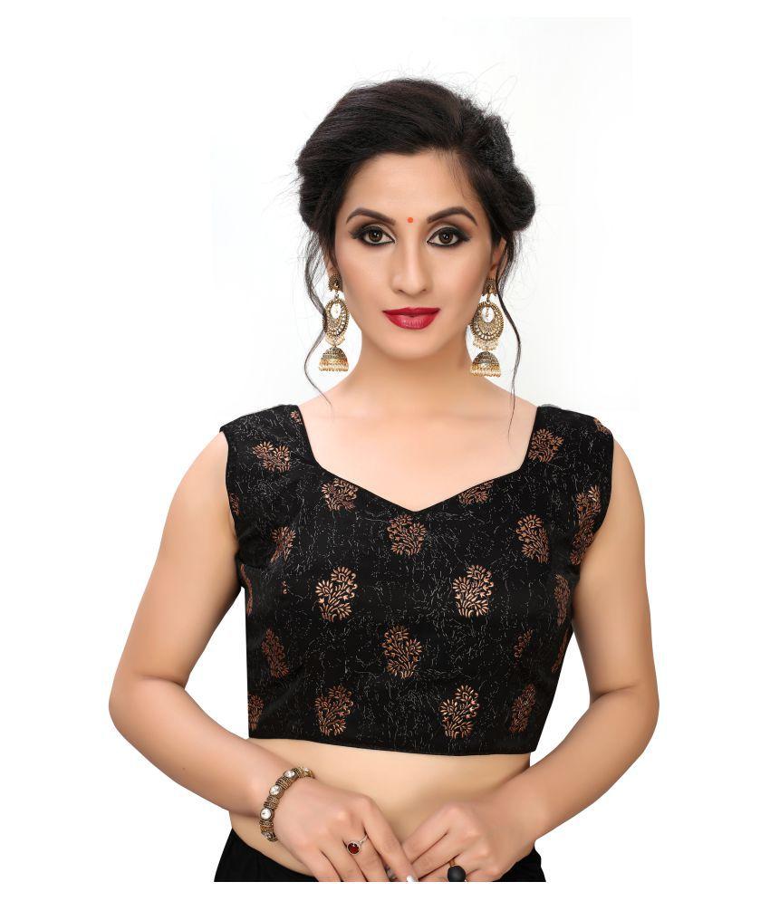 Shubh Sanidhya Black Silk Readymade with Pad Blouse