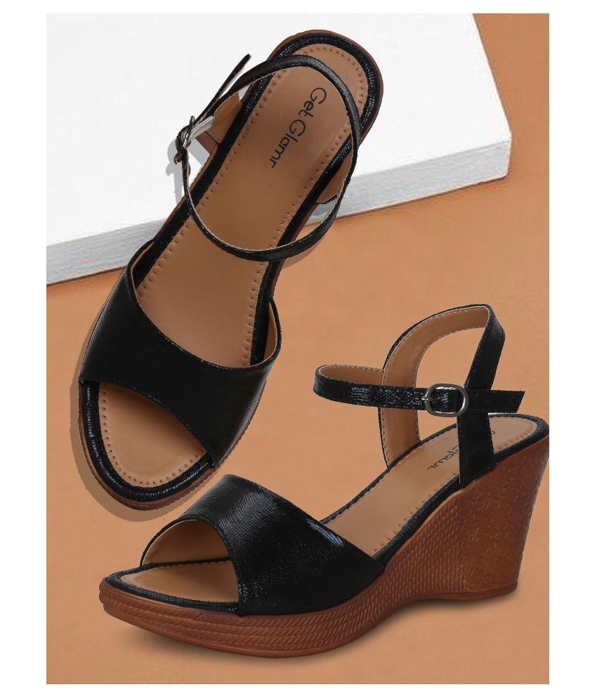 Get Glamr Black Wedges Heels