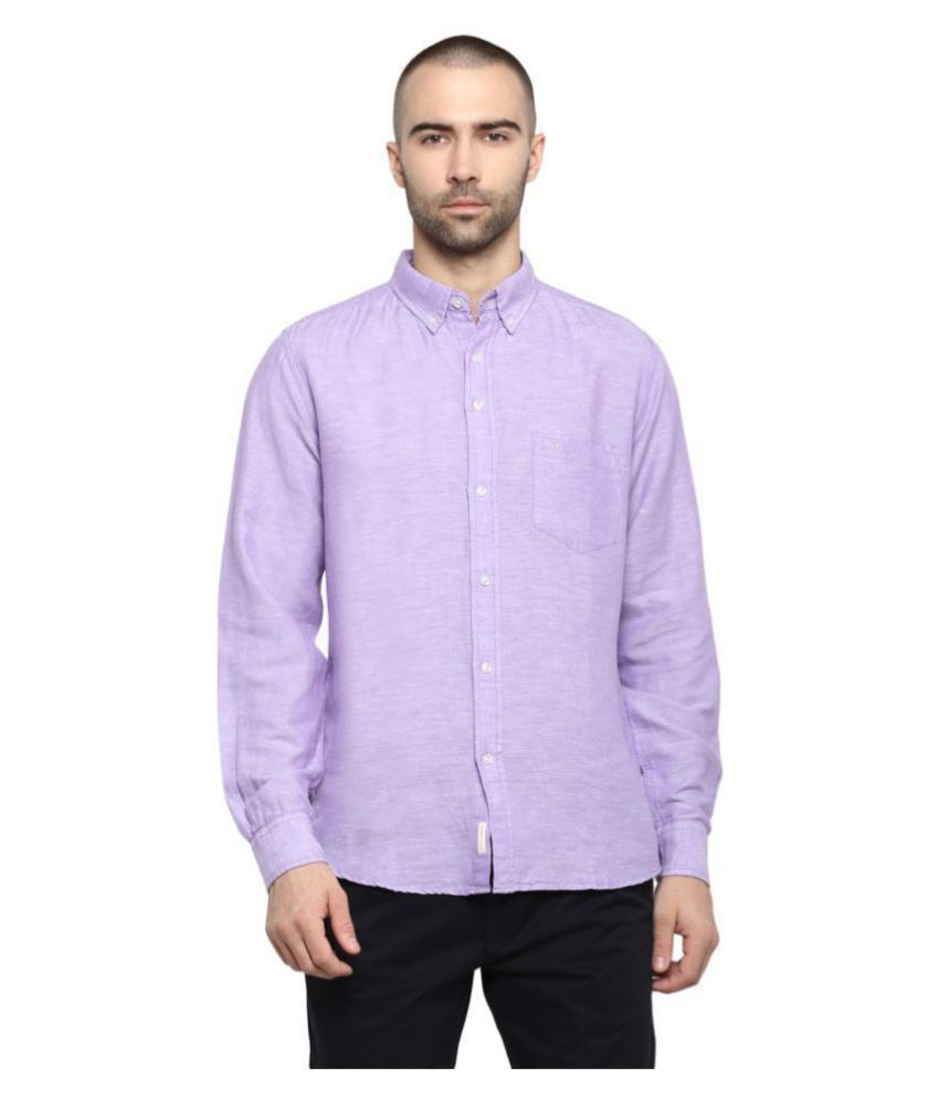 Red Tape Cotton Blend Purple Solids Shirt