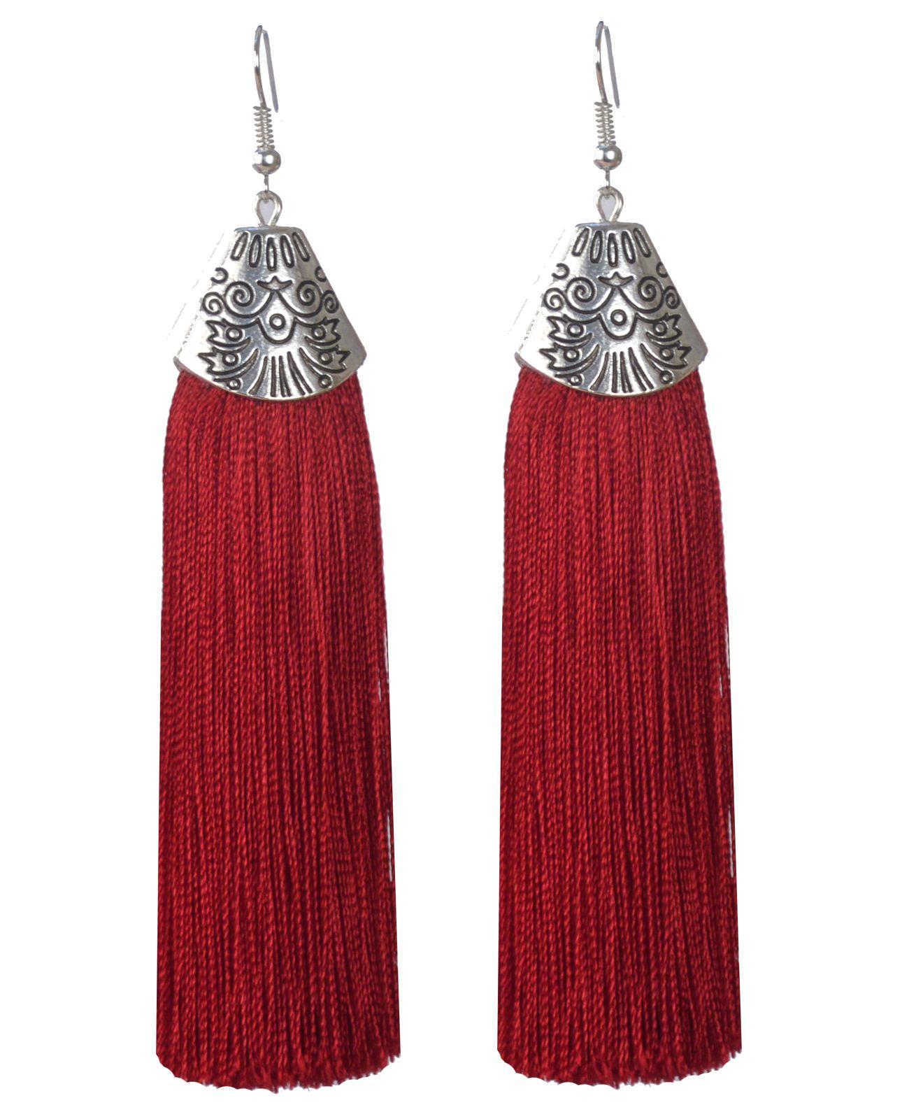 Maroon Fashion Dangle Earrings For Women Party Wear