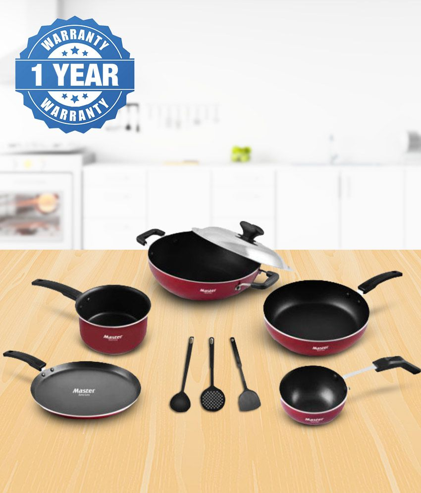 Master Fiesta Non-Stick 9 Piece Cookware Set (24cm Fry Pan, 17cm Sauce Pan, 24cm Kadai with SS Lid, 28cm Tawa, 10cm Tadka Pan and 3 Nylon Spatulas)