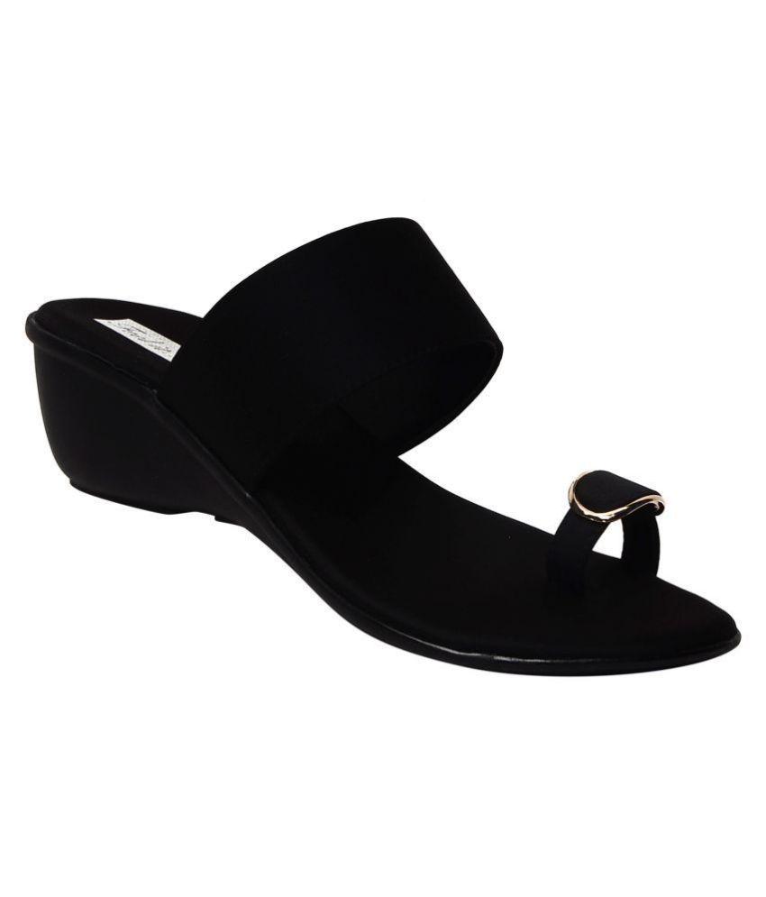 Feel It Black Wedges Heels