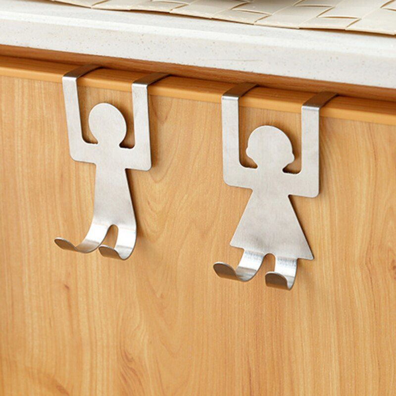 2Pcs Hook Kitchen Hanger Lovers Shaped Clothes Storage Rack Tool Stainless Steel
