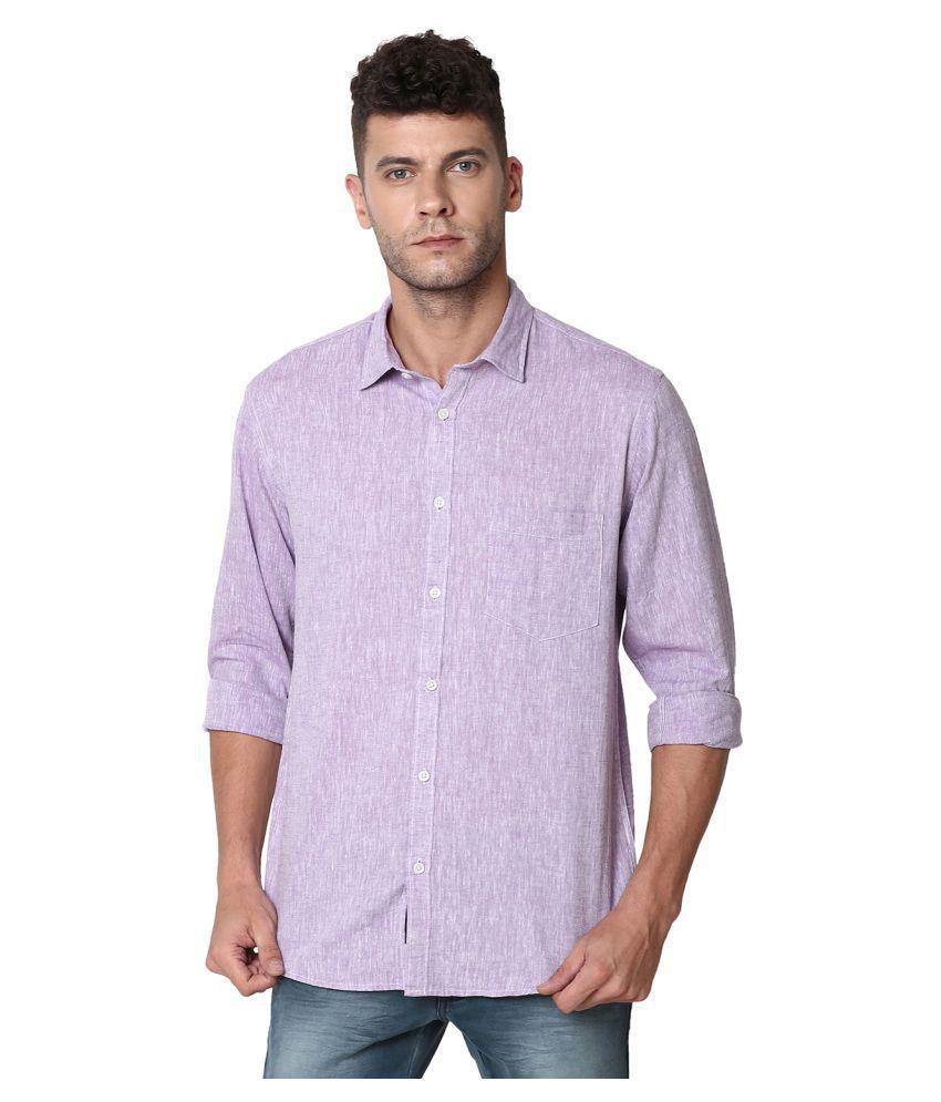 CAVALLO by Linen club Linen Purple Solids Shirt
