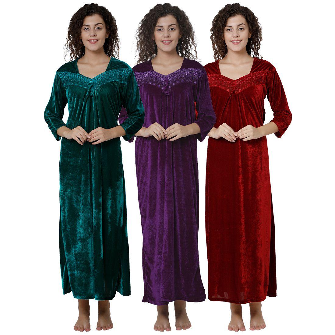 Gospel Velvet Nighty & Night Gowns - Multi Color