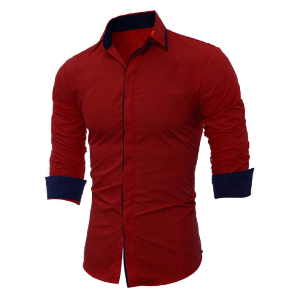 SUR-T 100 Percent Cotton Maroon Solids Shirt