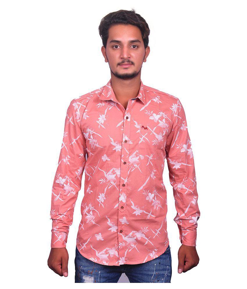 Myra 100 Percent Cotton Pink Prints Shirt
