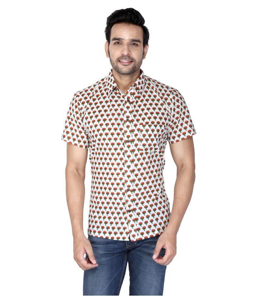 Bannasa 100 Percent Cotton White Color Blocks Shirt