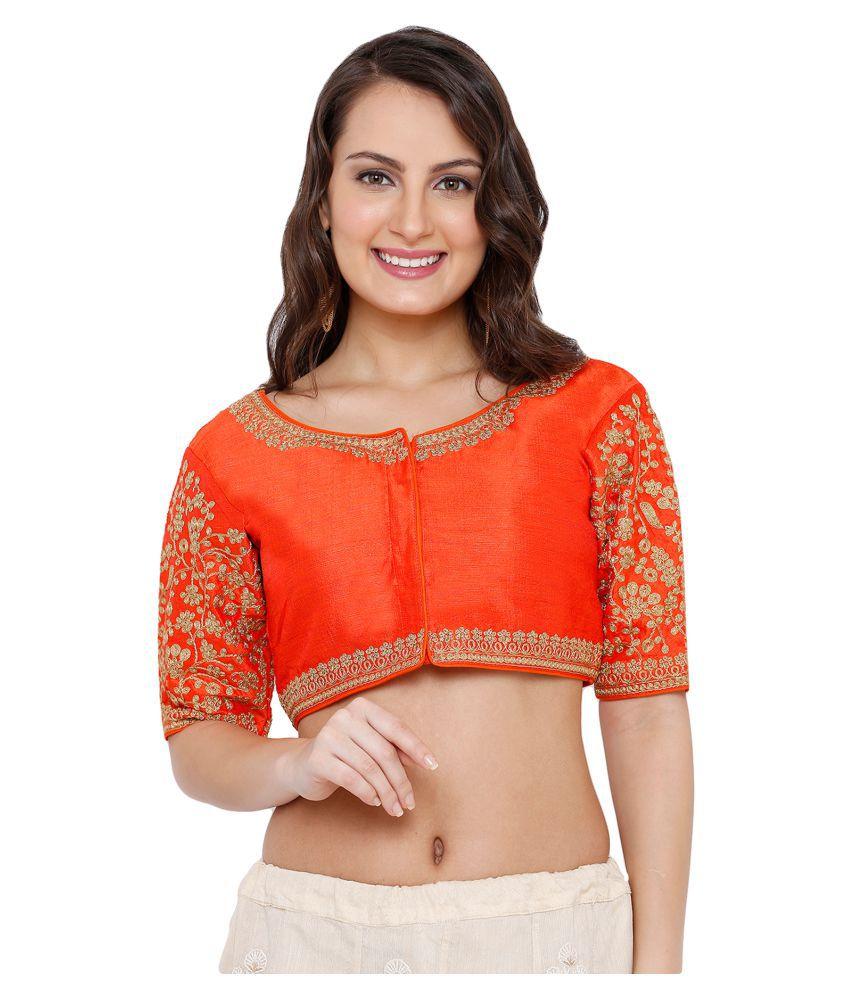 Salwar Studio Orange Silk Readymade with Pad Blouse