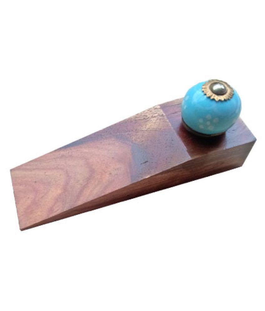 FANCY HANDICRAFT Wooden and Ceramic Door stopers Kids Friendly,L = 5 * W = 1.6 * H = 2 (WBS473)