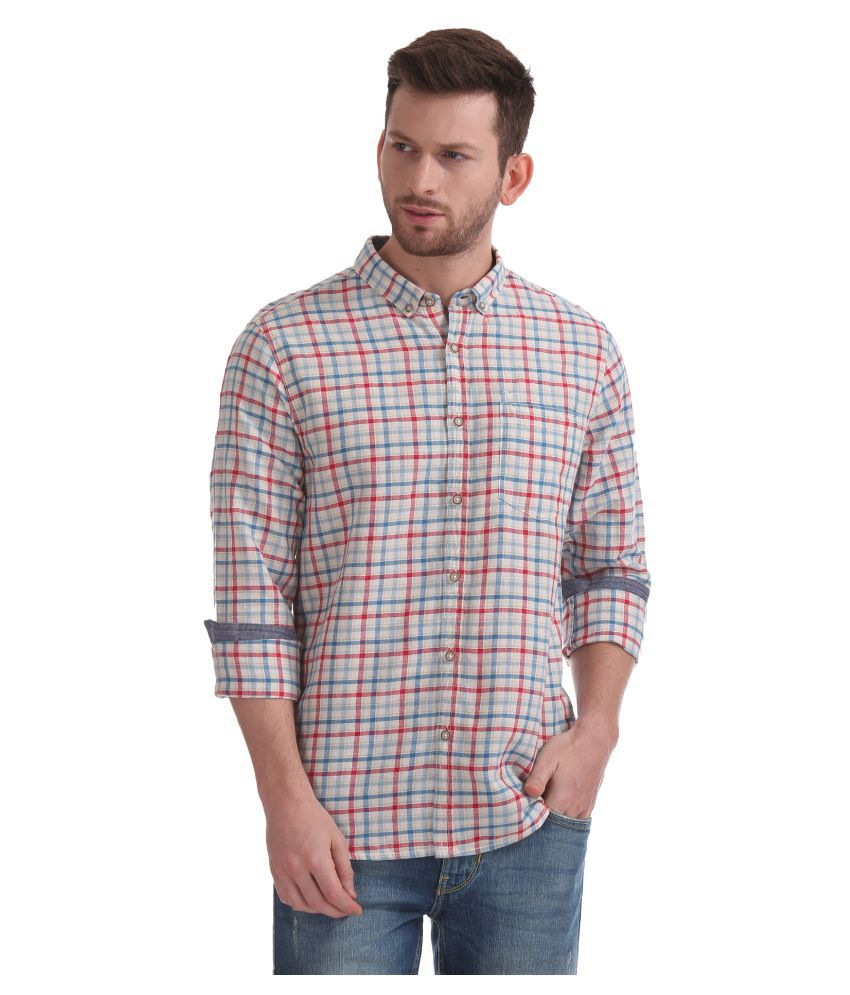Flying Machine Cotton Blend Beige Checks Shirt