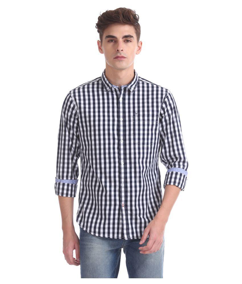 Flying Machine Cotton Blend Blue Checks Shirt