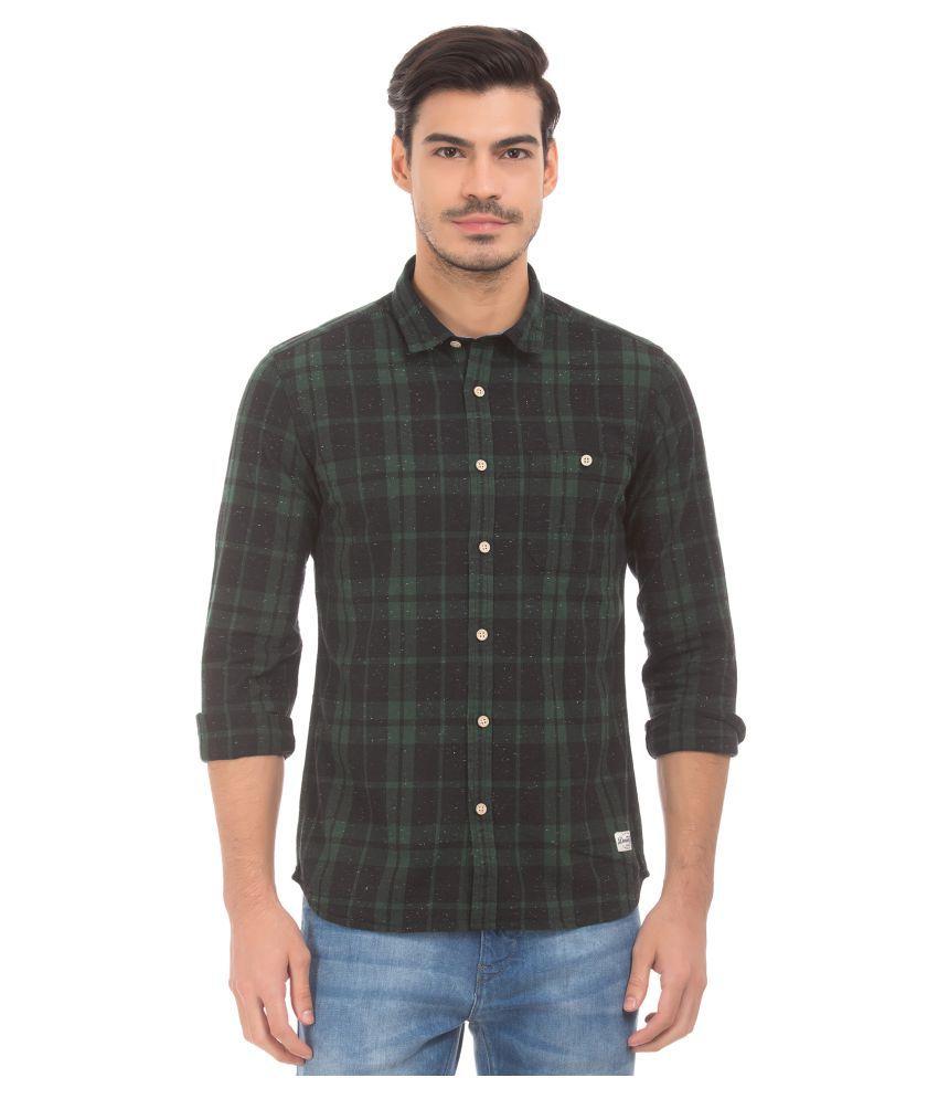 Flying Machine Cotton Blend Green Checks Shirt