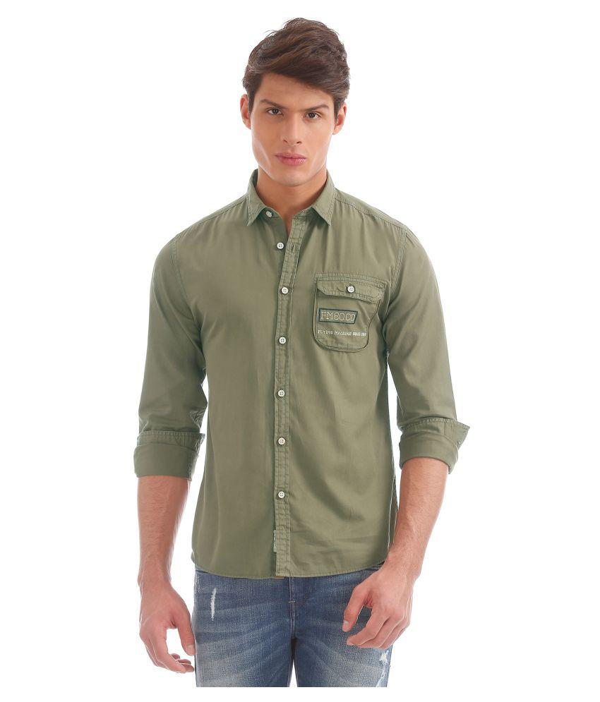 Flying Machine Cotton Blend Green Prints Shirt