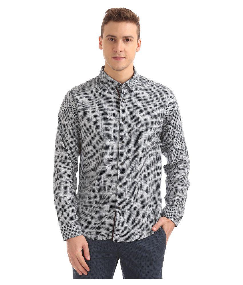 Flying Machine Cotton Blend Grey Prints Shirt