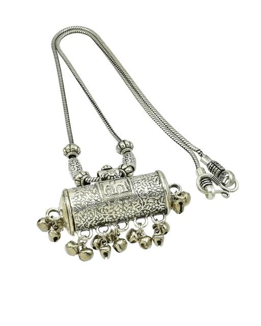 High Trendz Oxodised Silver Metal Gypsy Style Statement Chain Pendant For Women And Girls