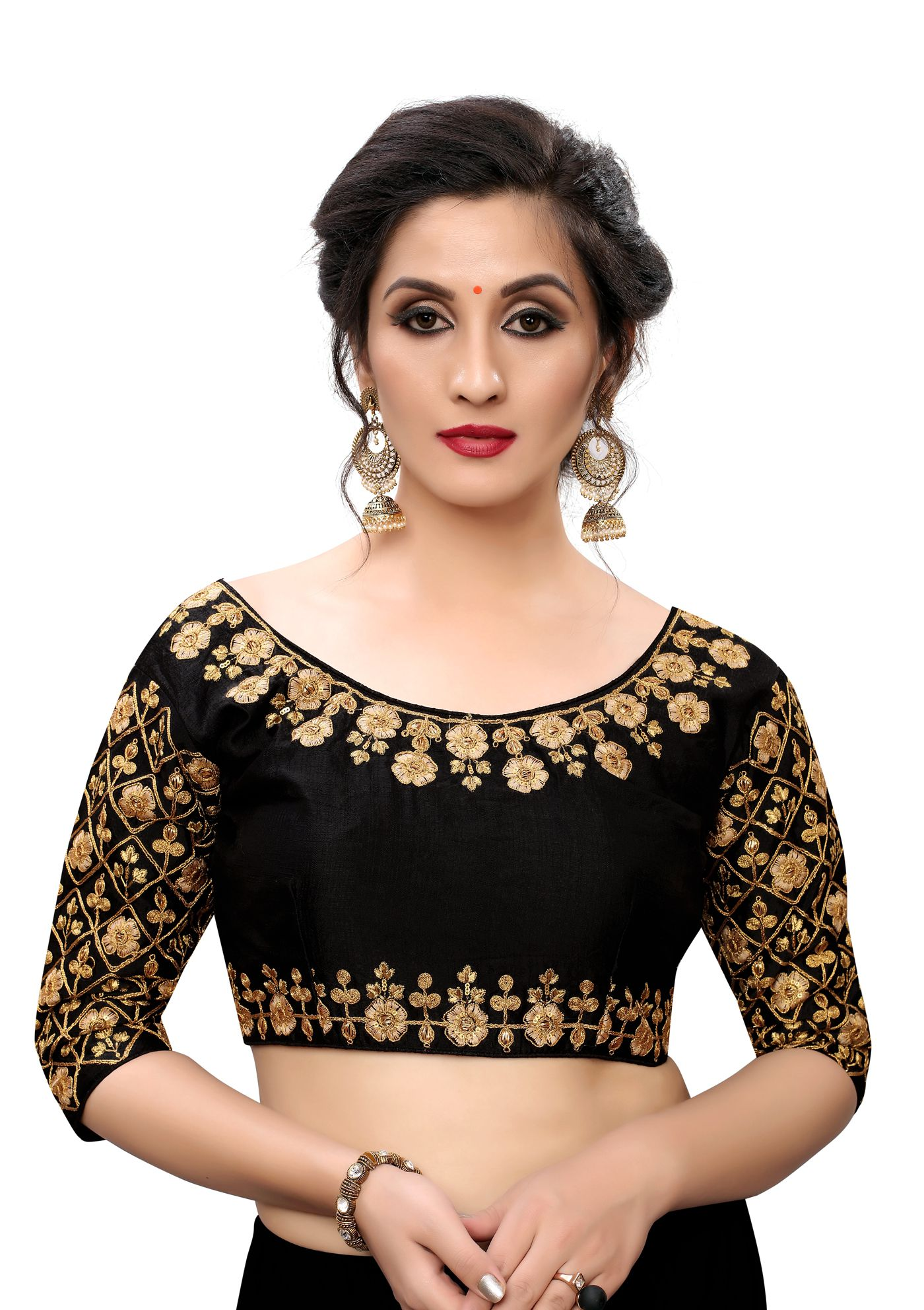 Amrutam Fab Black Silk Readymade with Pad Blouse