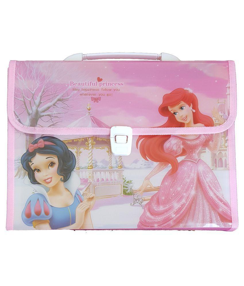 Sardar Ji Toys Polypropylene Briefcase Style Snow White Document Folder with 13 Inner Pockets for Kids (Pink)