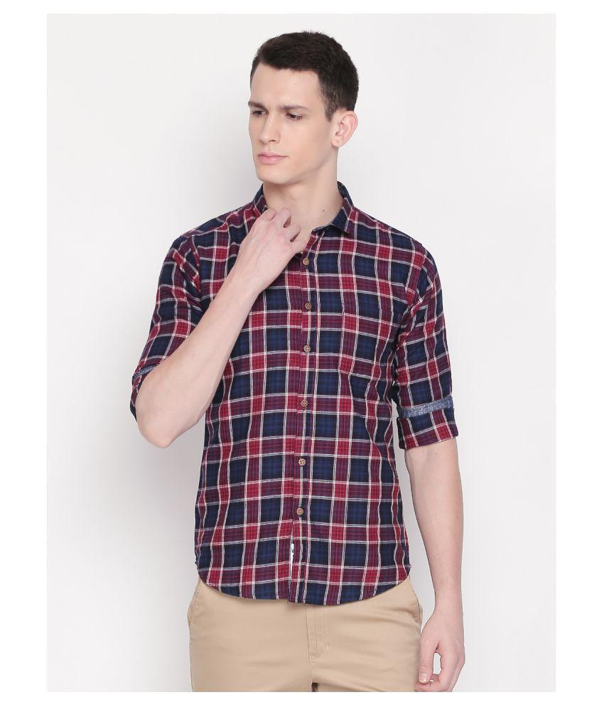 roller fashions 100 Percent Cotton Red Checks Shirt