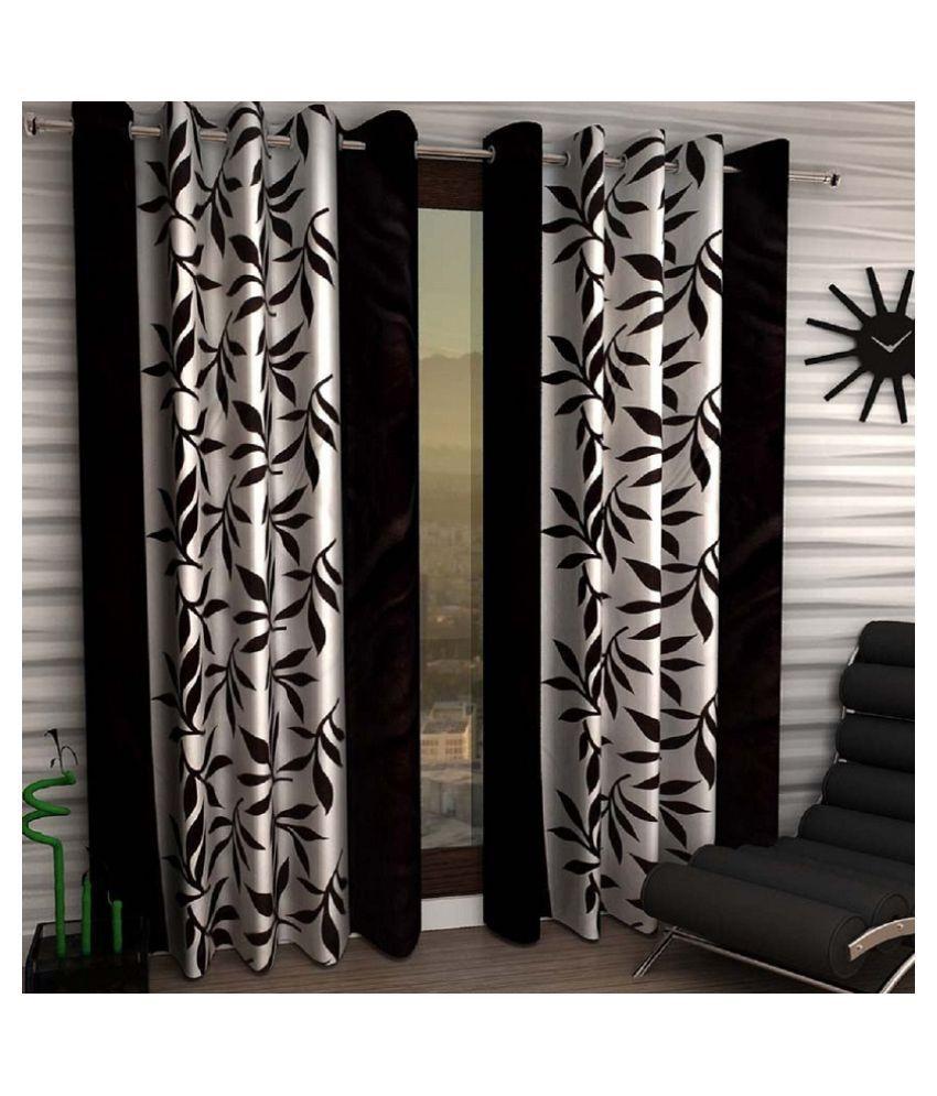 Tanishka Fabs Set of 2 Door Semi-Transparent Eyelet Polyester Curtains Black