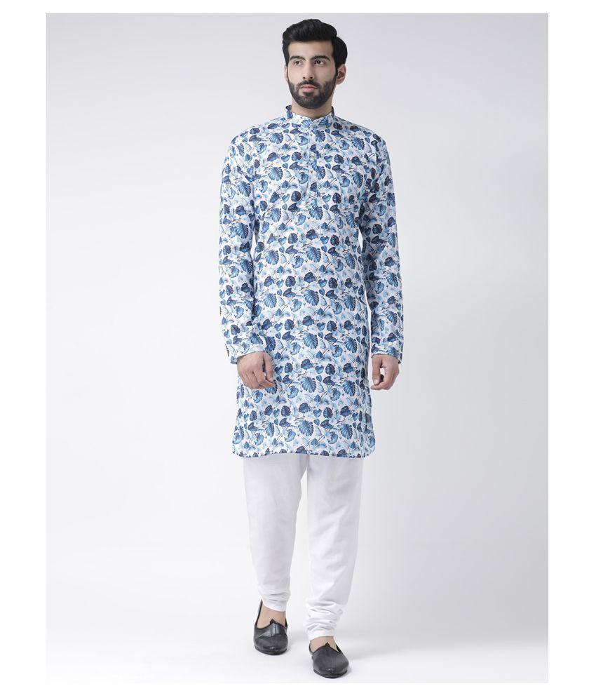 Hangup Blue Cotton Kurta Pyjama Set